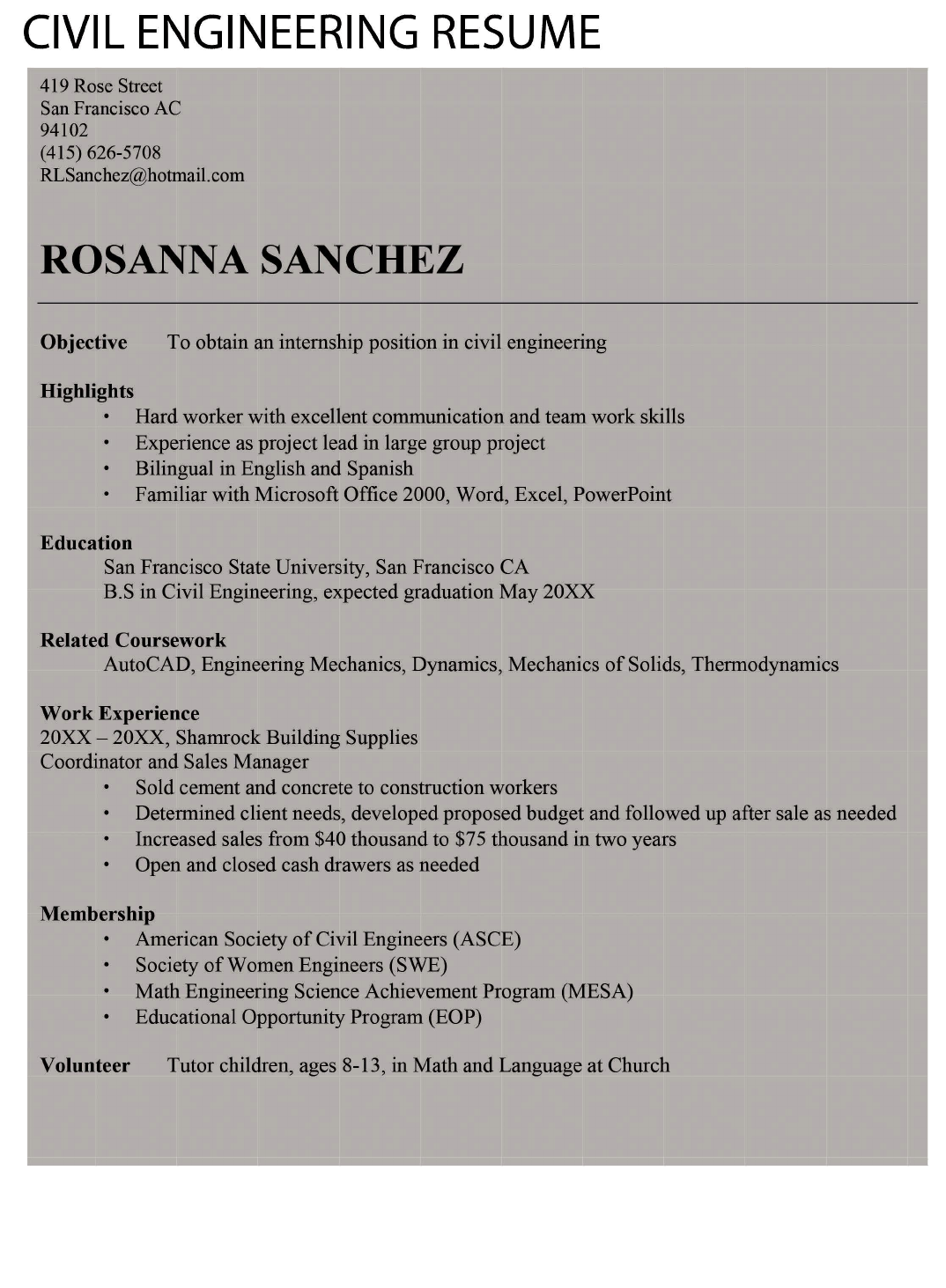 entry level  u0026 freshers civil engineer resume template