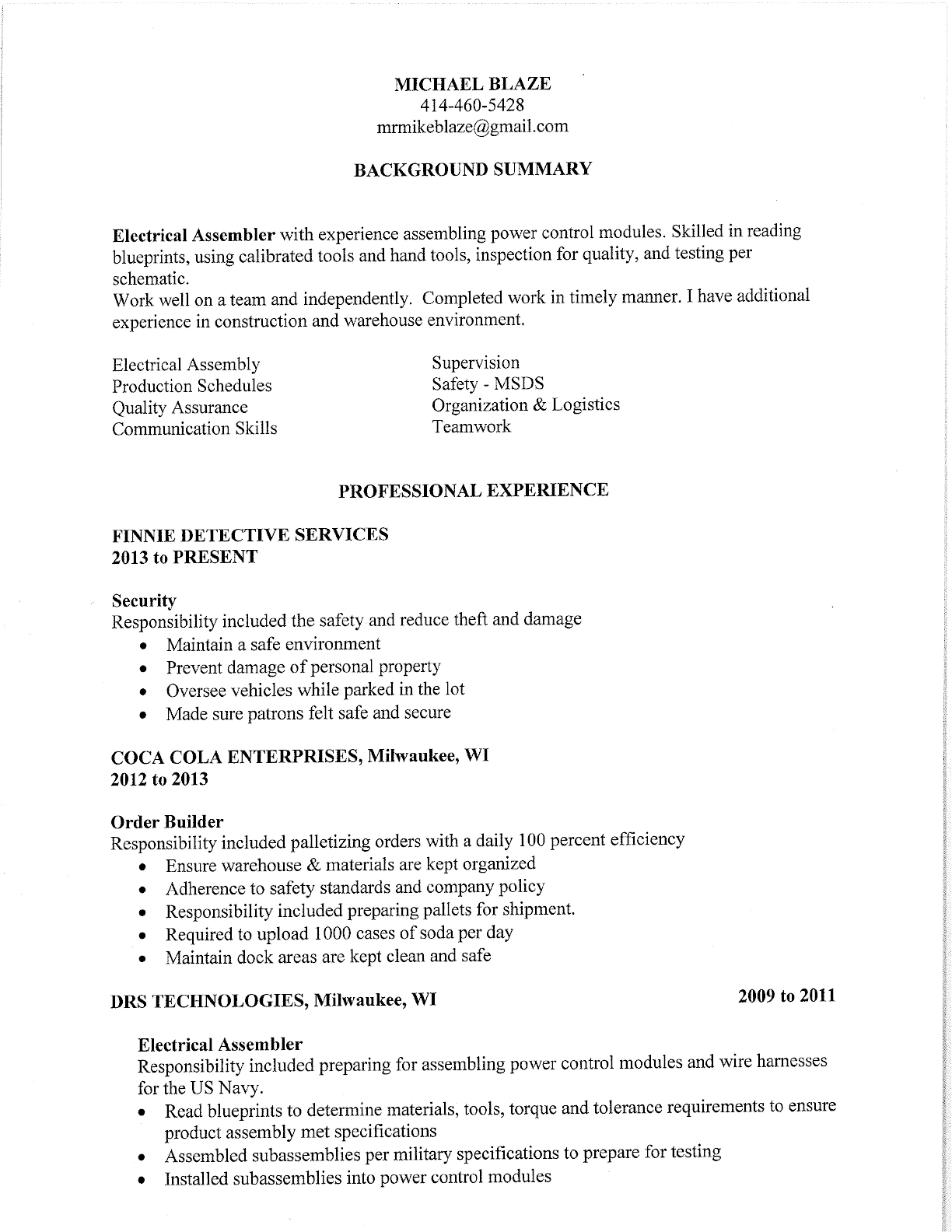 professional order builder resume template