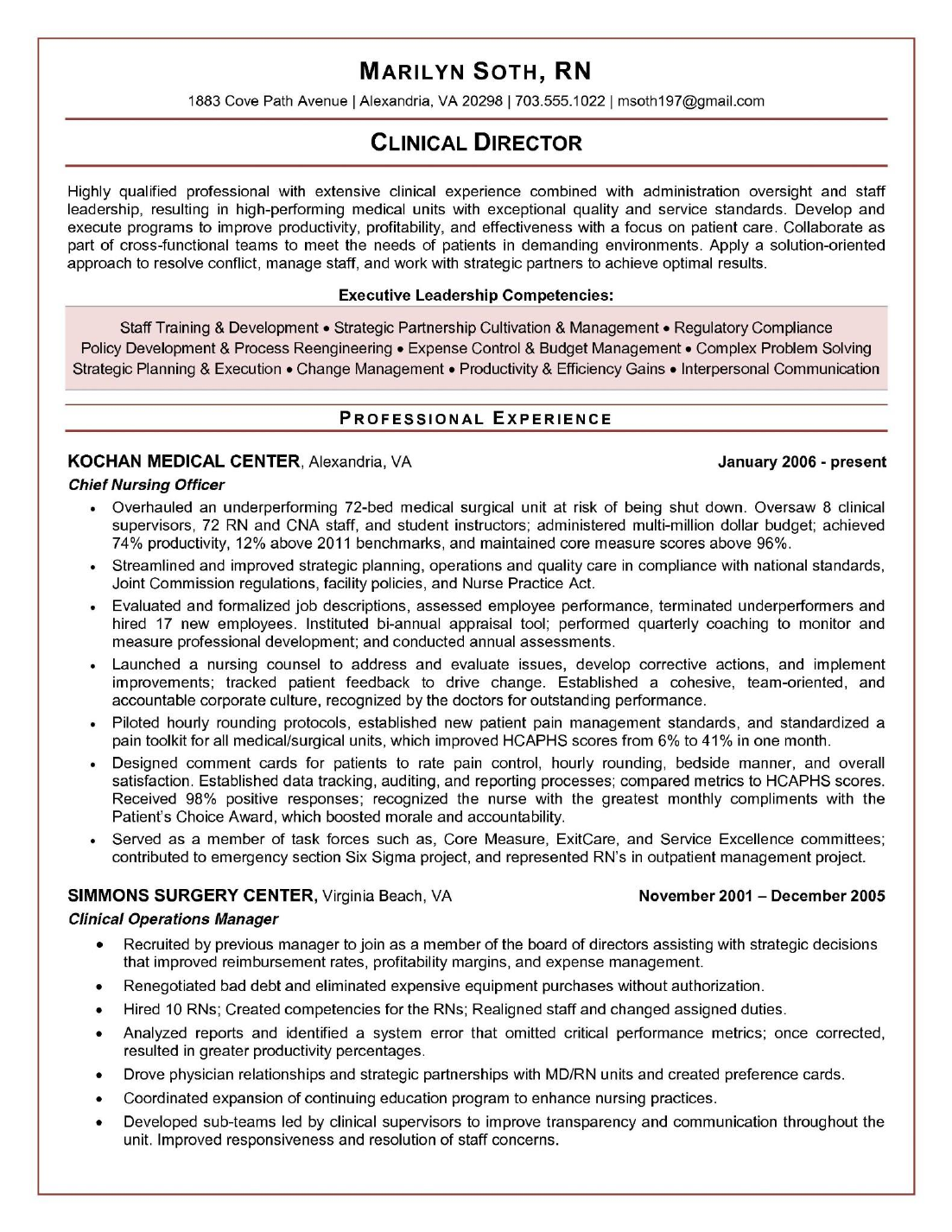 free printable clinical nurse manager resume sample download