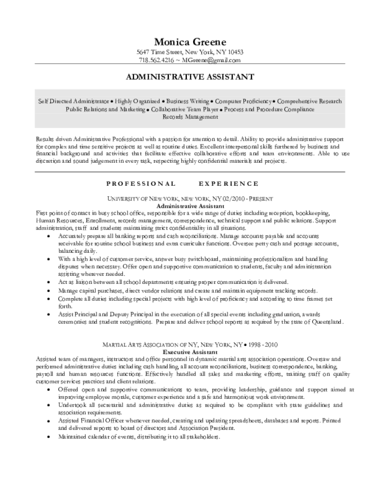 administrative assistant resume samples  download free