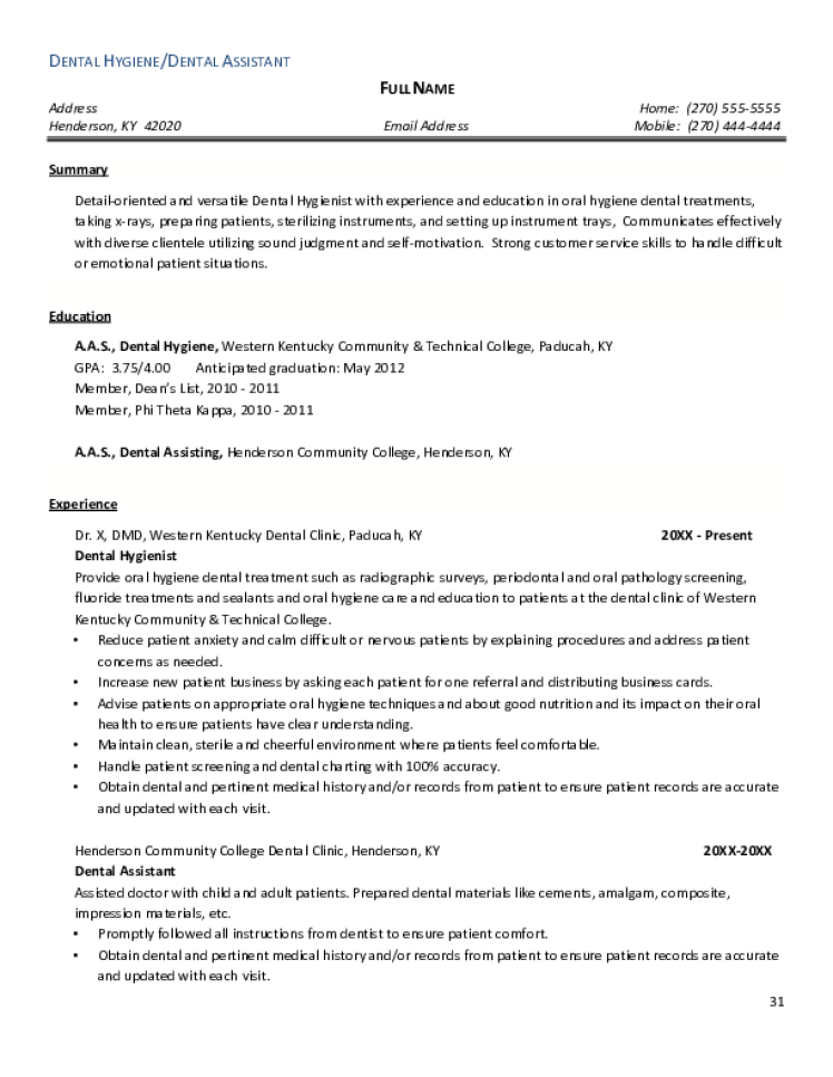 dental assistant resume samples