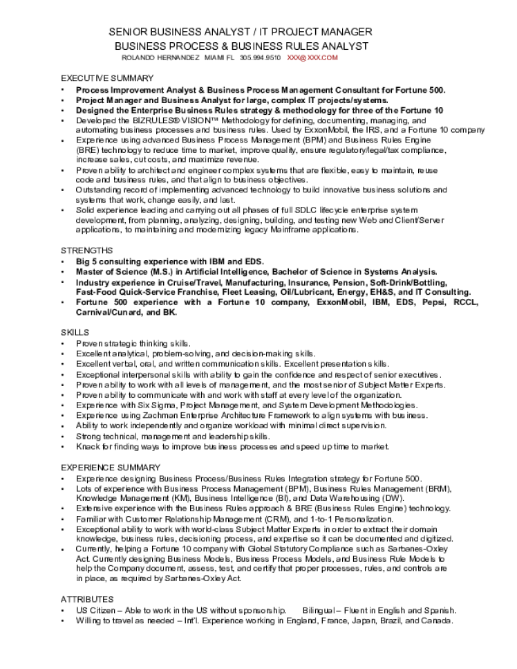 Business Analyst Resume Samples Download Free Templates In Pdf And
