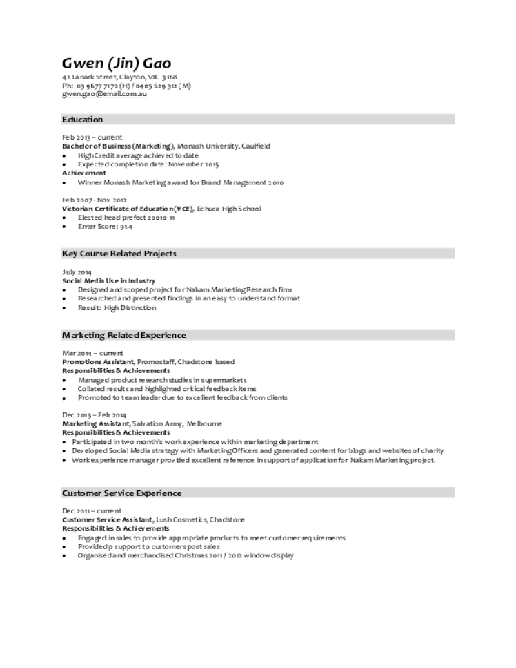 Marketing resume samples download free templates in pdf for Cv template for marketing job