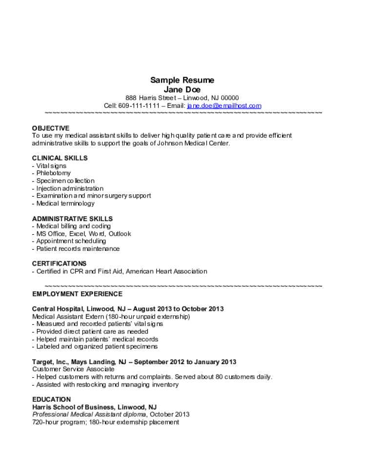 Medical Assistant Resume Samples - Download Free Templates ...
