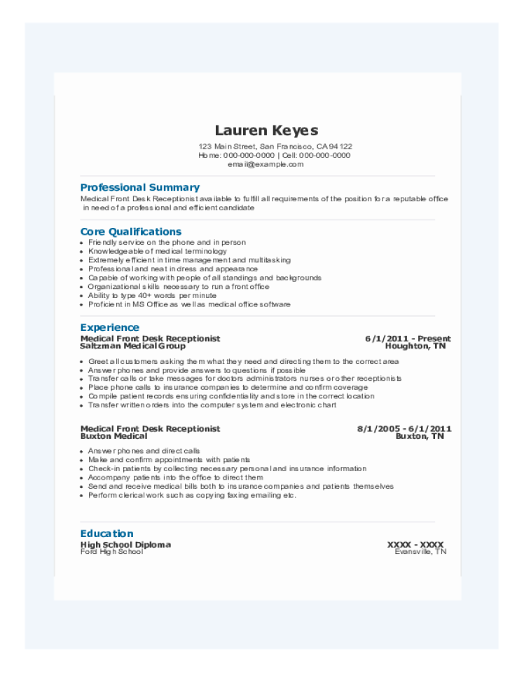 receptionist resume samples  download free templates in