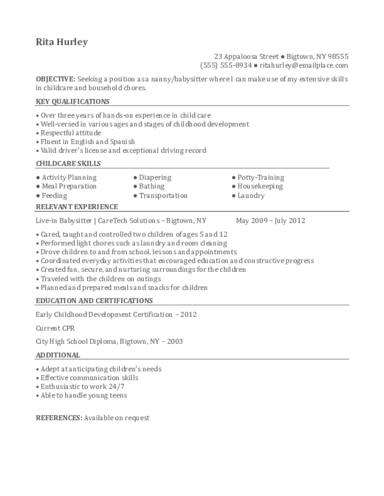 Nanny Resume Samples Download Free Templates In Pdf And Word