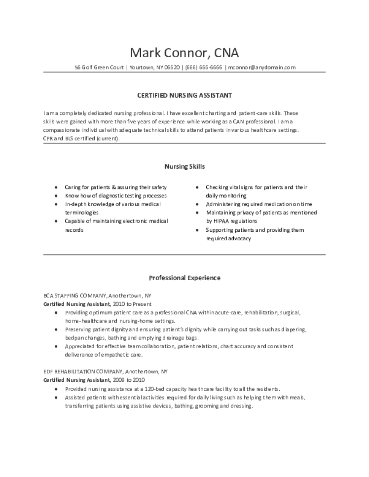 Cna Resume Samples Download Free Templates In Pdf And Word