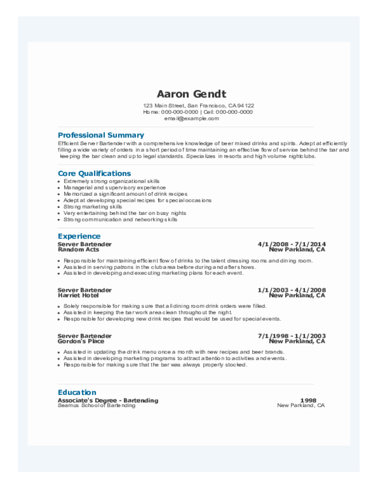 server bartender resume - Server Bartender Resume