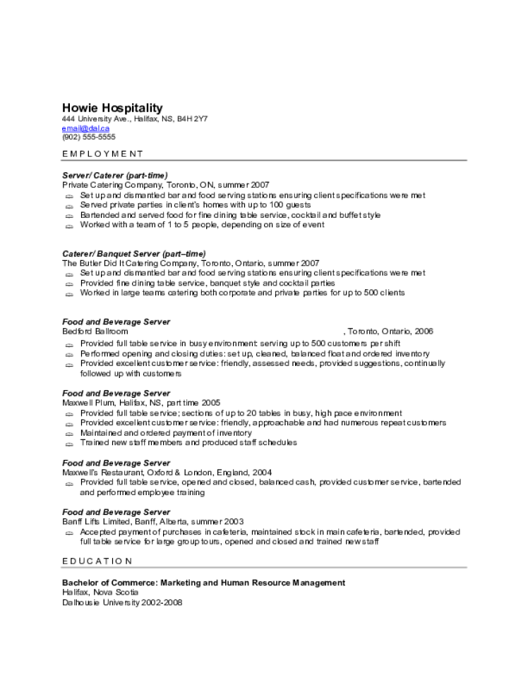 server resume samples - Banquet Server Resume Example