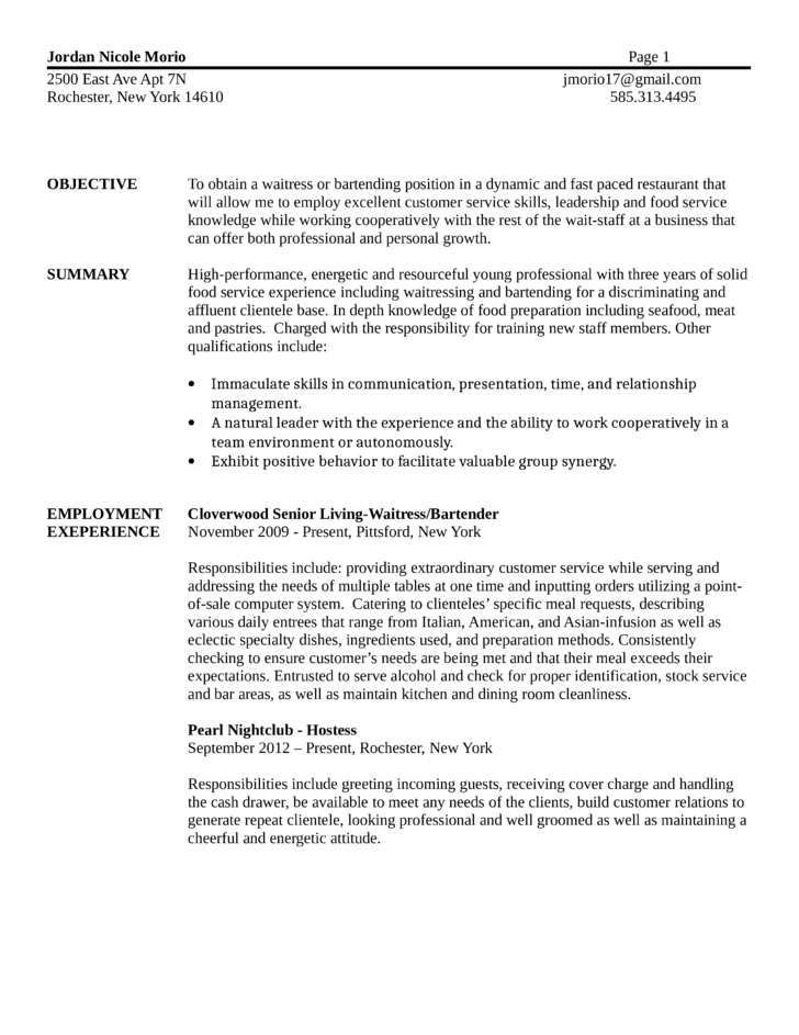 Basic Bartender Resume  Bartender Description For Resume