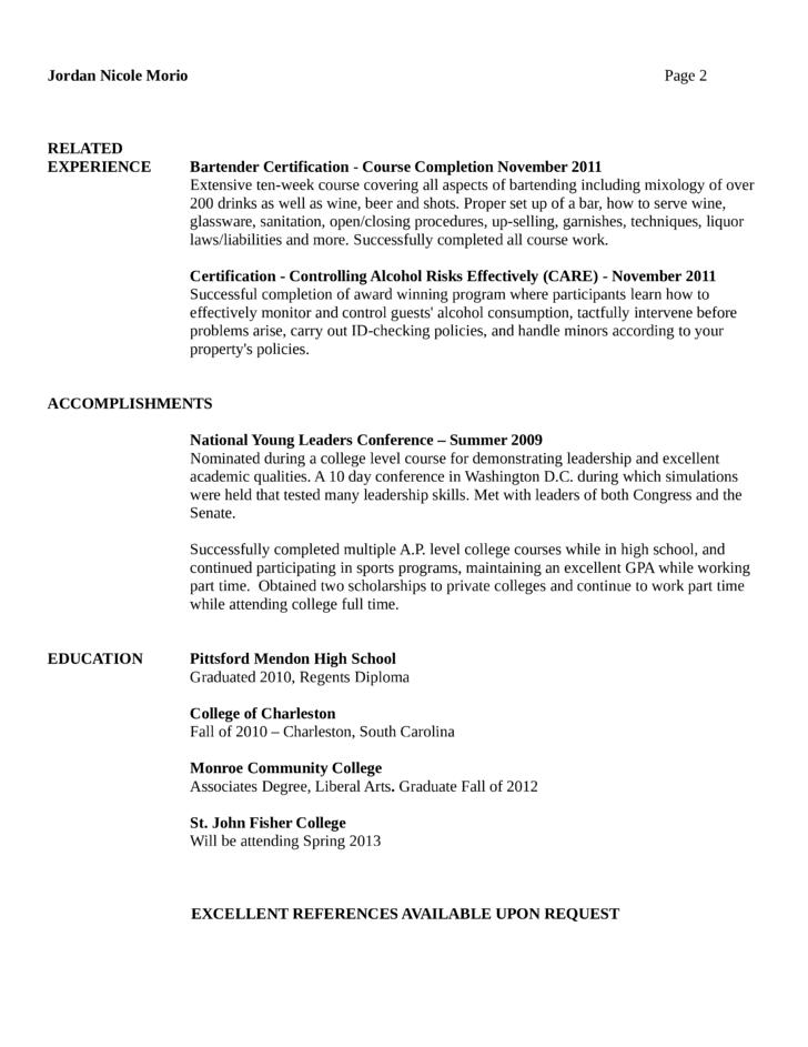 basic bartender resume page2 - Bartender Resume Skills 2