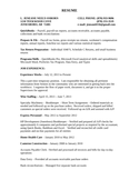 Basic Bookkeeper Resume Example