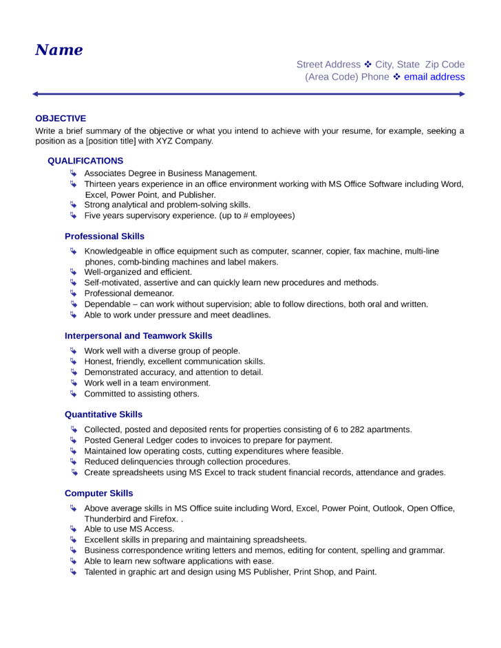 basic business manager resume template
