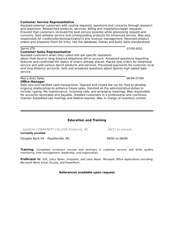 customer service representative resume sle customer