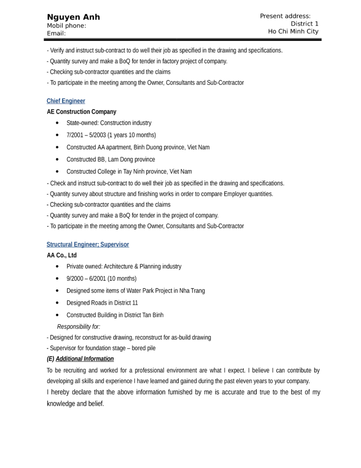 basic engineering manager resume template page 4