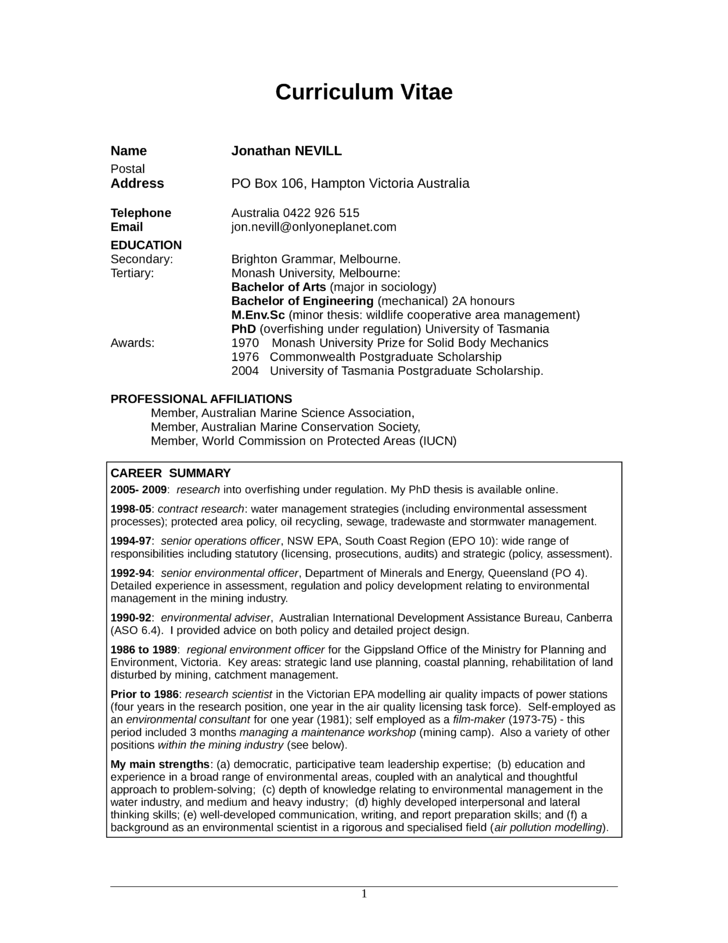 basic environmental scientist resume template