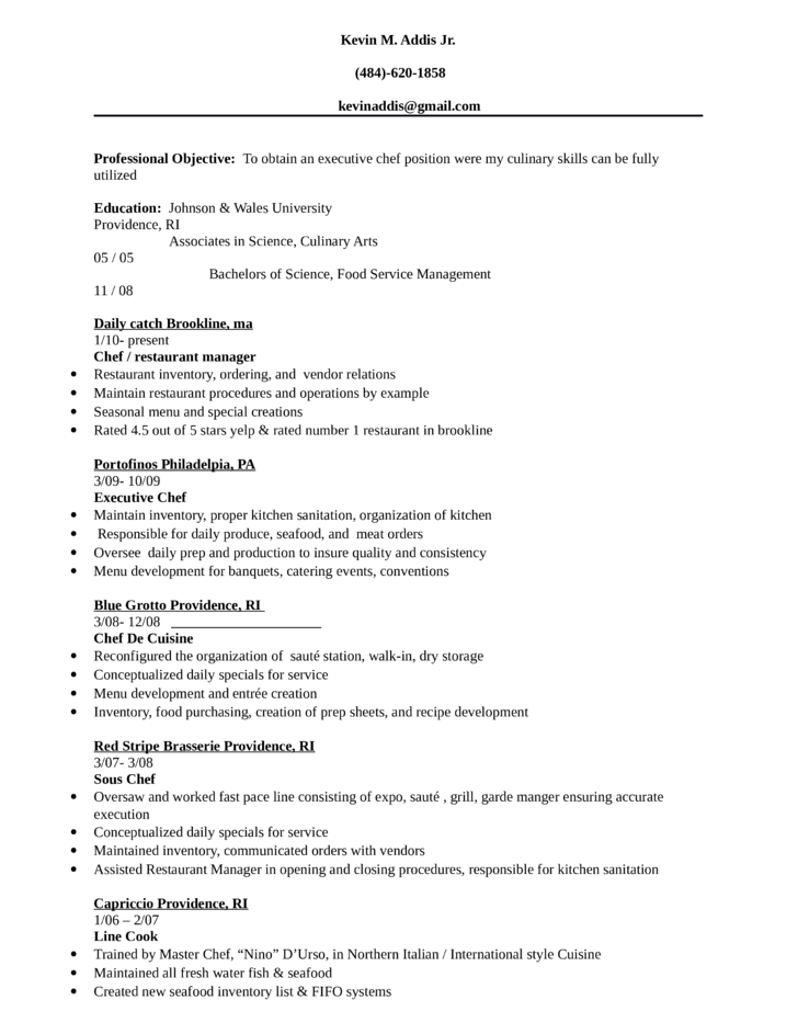 basic executive chef resume