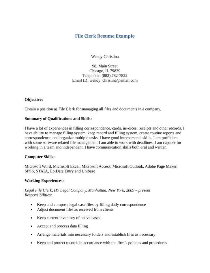 basic file clerk resume - File Clerk Resume Sample