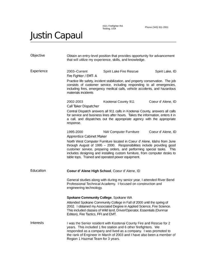 basic firefighter resume template