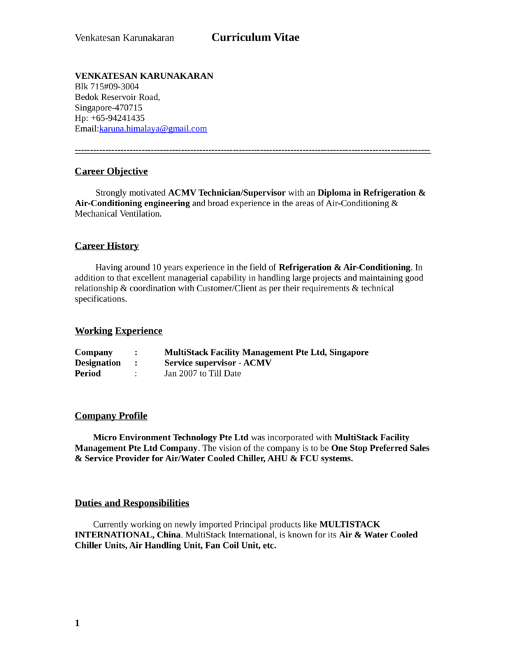 Basic General Service Technician Resume Template