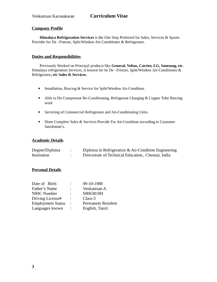 basic general service technician resume template page 3