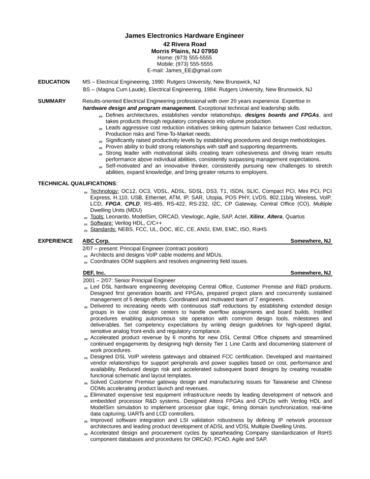 basic hardware design engineer resume template