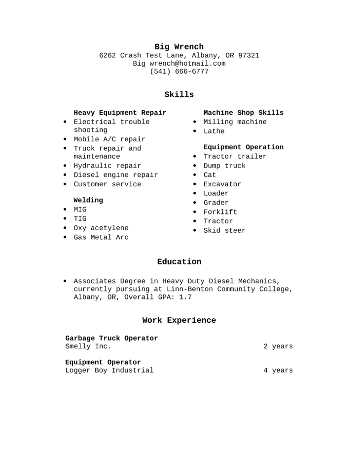 basic heavy equipment operator resume