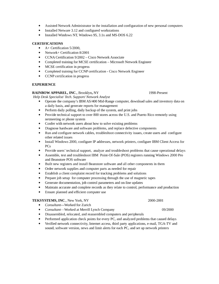 basic help desk specialist resume template