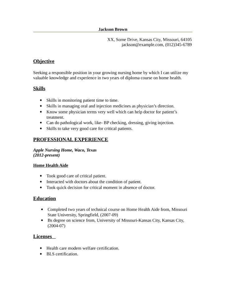 Basic Home Health Aide Resume  Hha Resume