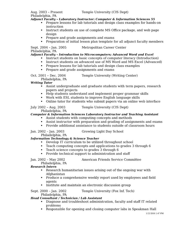 basic instructor resume template