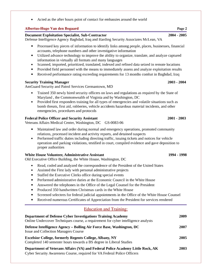 Basic Intelligence Analyst Resume Template | page 2