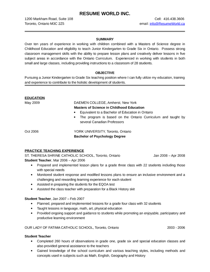 basic kindergarten teacher resume template