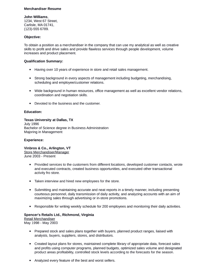 Chronological Order Example Resume