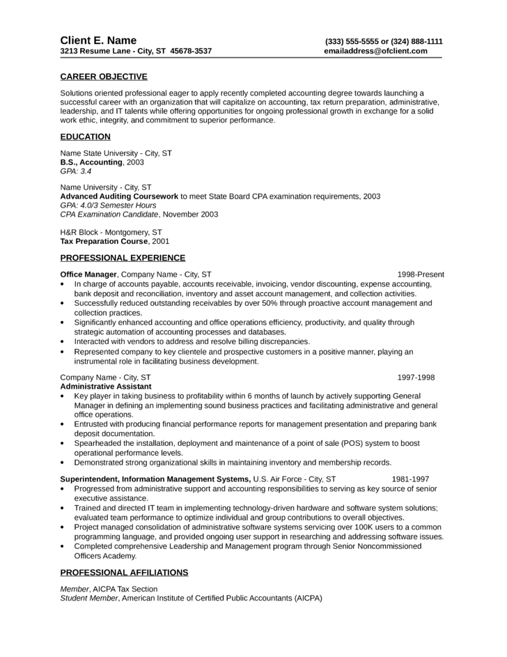 basic tax accountant resume template