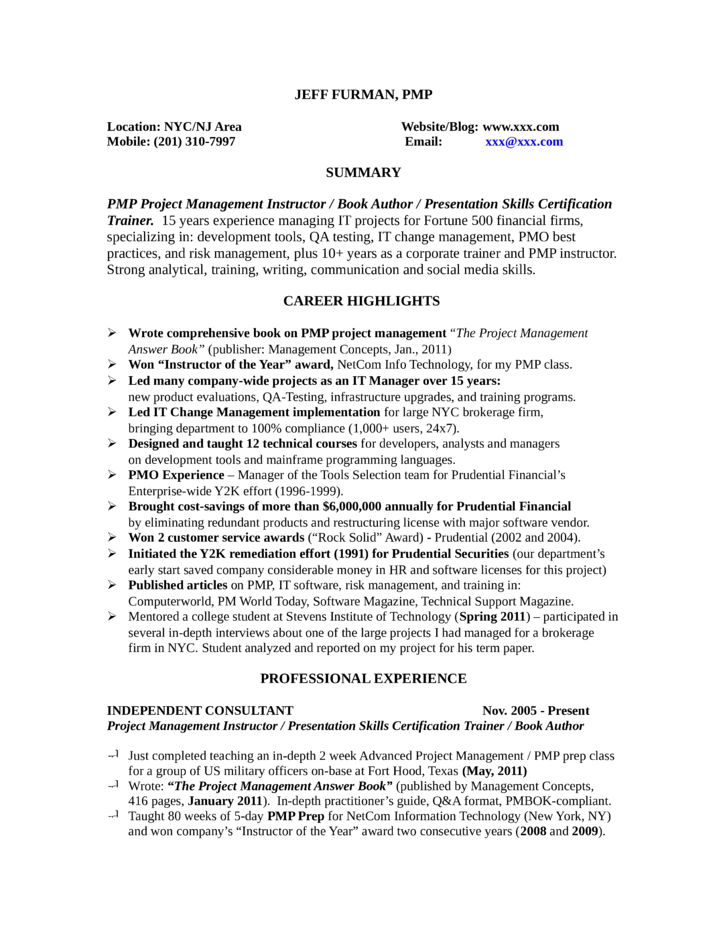 Basic Training Manager Resume Template