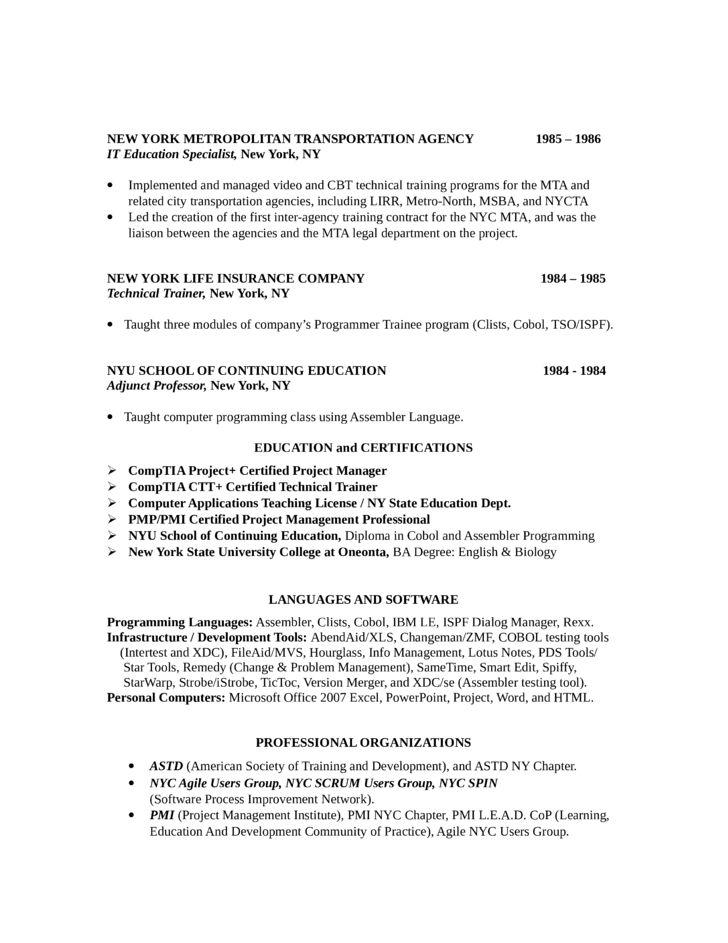 Basic Training Manager Resume Template Page 3