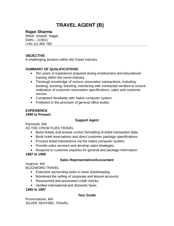 Basic Travel Agent Resume Template