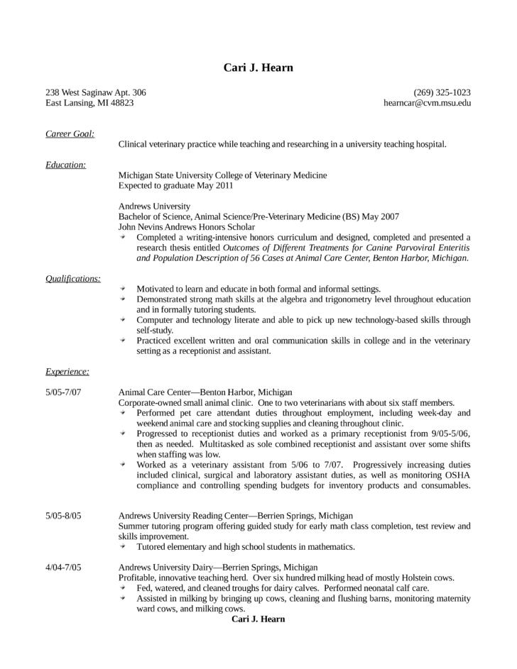 basic veterinary receptionist resume template