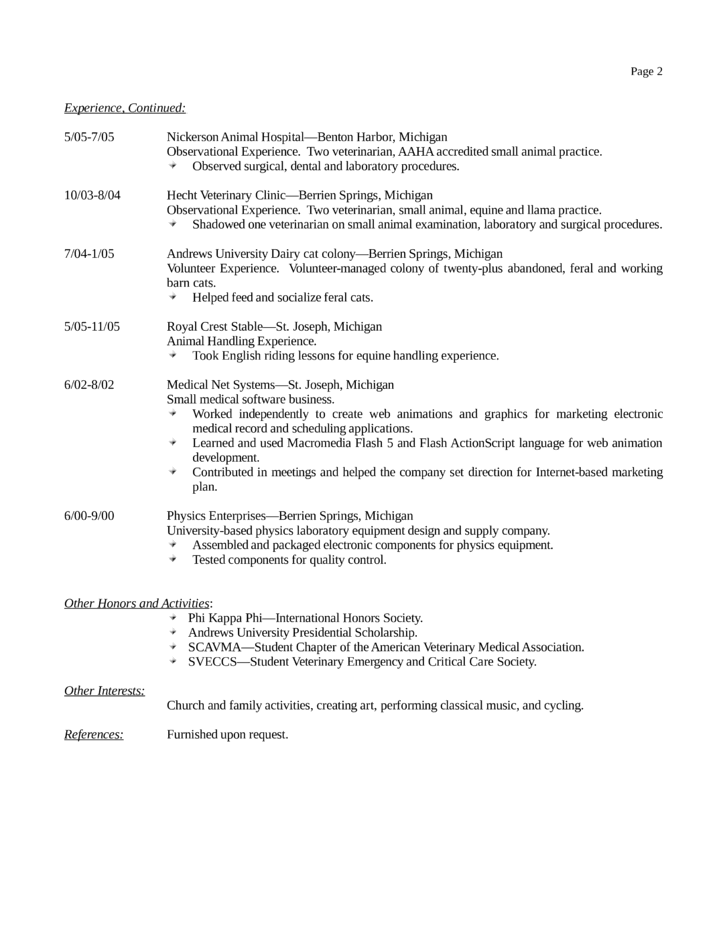 basic veterinary receptionist resume template page 2