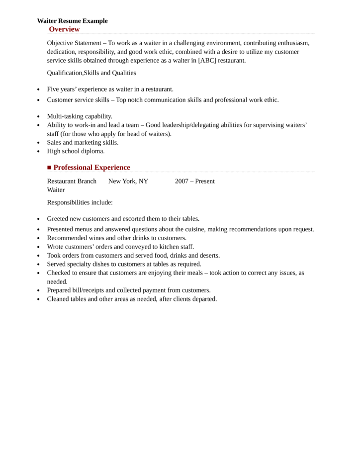 wait staff resume sample