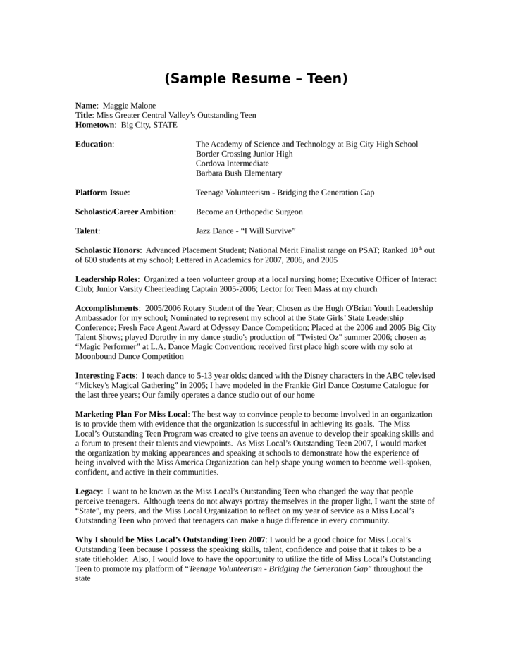 basic youth leader resume template