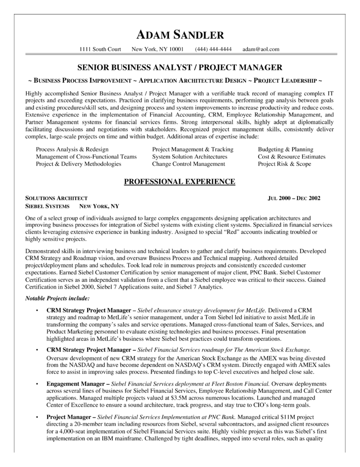 Sample management business analyst resume zrom accmission
