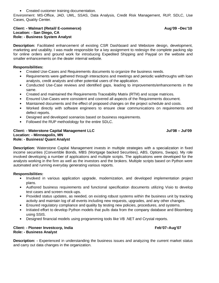 best quantitative analyst resume page4 - Business System Analyst Resume
