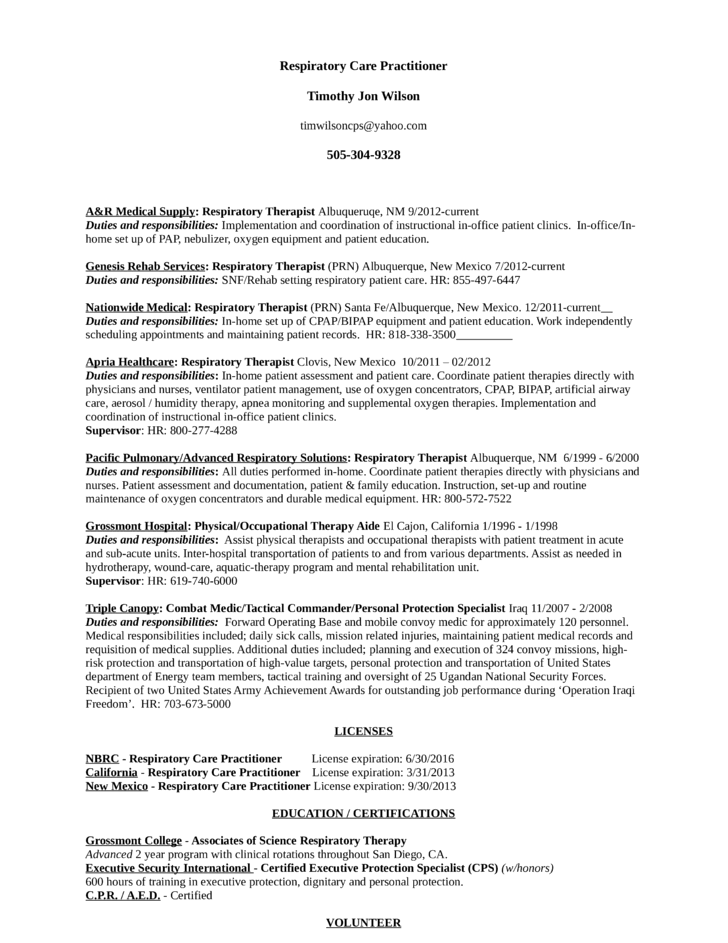 best respiratory therapist resume