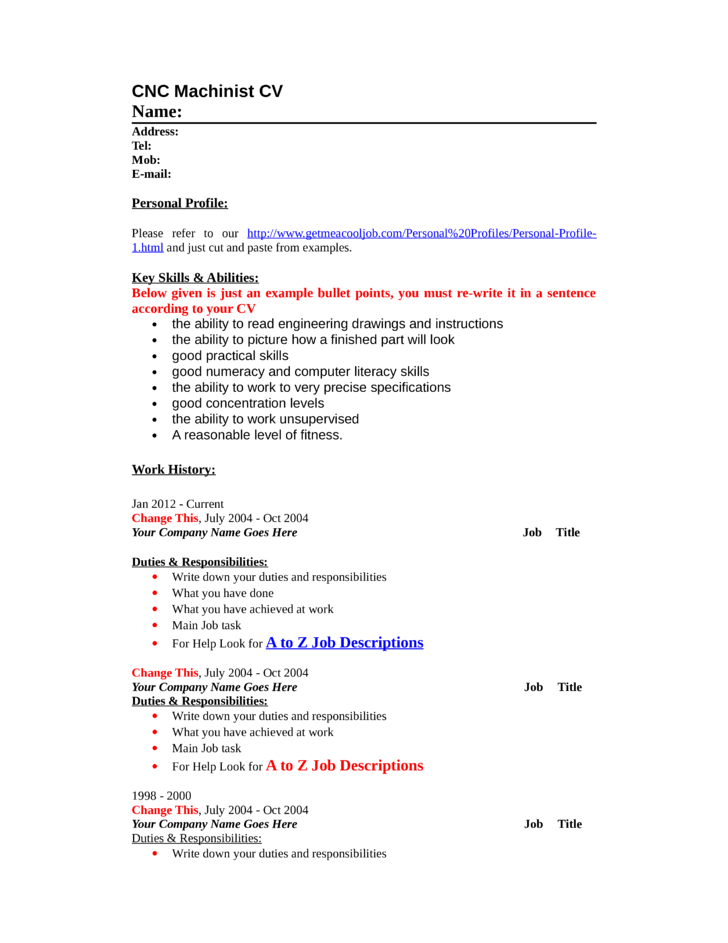 blank cnc machinist resume - Machinist Resume Template