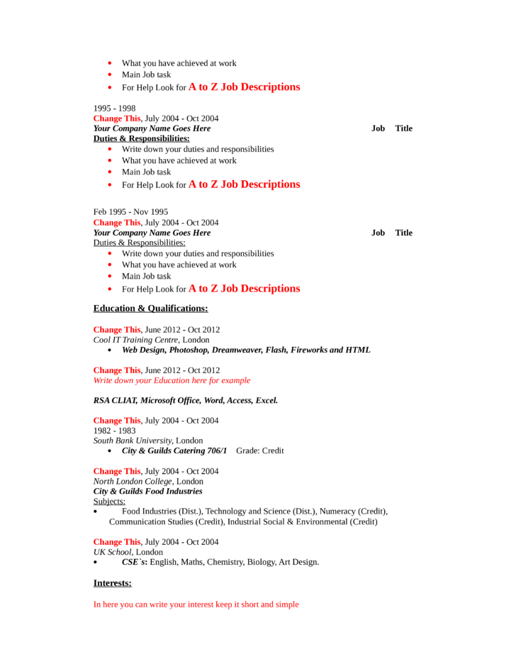 Blank CNC Machinist Resume Page2  Cnc Machinist Resume Samples