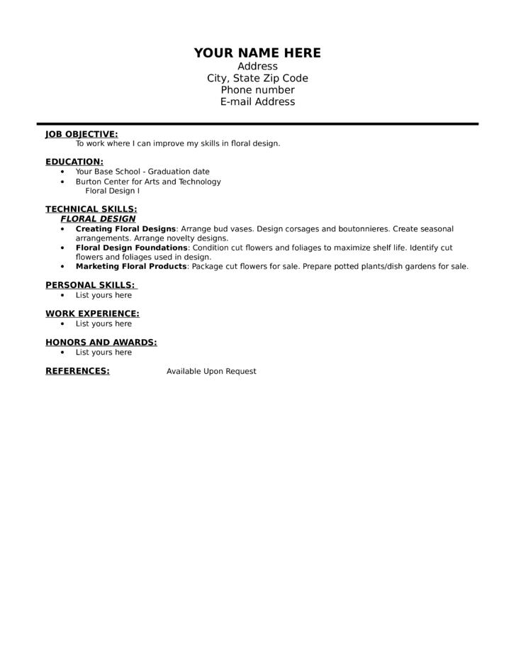 blank floral designer resume template