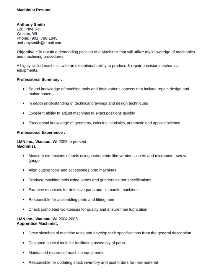 Business Machinist Resume  Objective For Business Resume