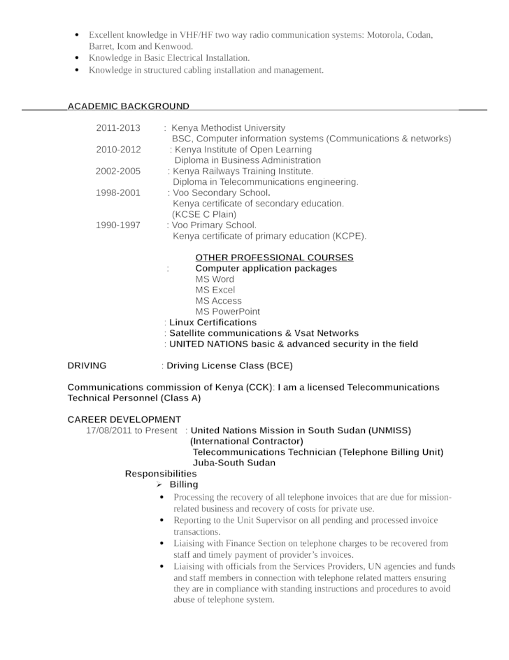 Telecommunication service technician resume \\ LIESPROBLEMS.GA