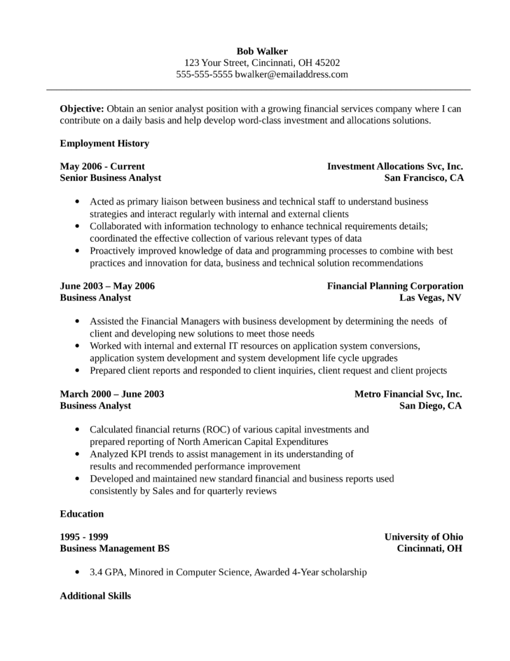 Chronological Analyst Resume